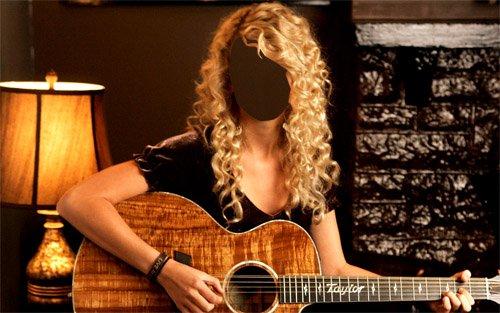 Женский шаблон - Красивая девушка с гитарой в руках