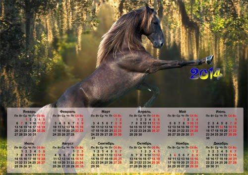 Настенный календарь на 2014 год - Игривая лошадь