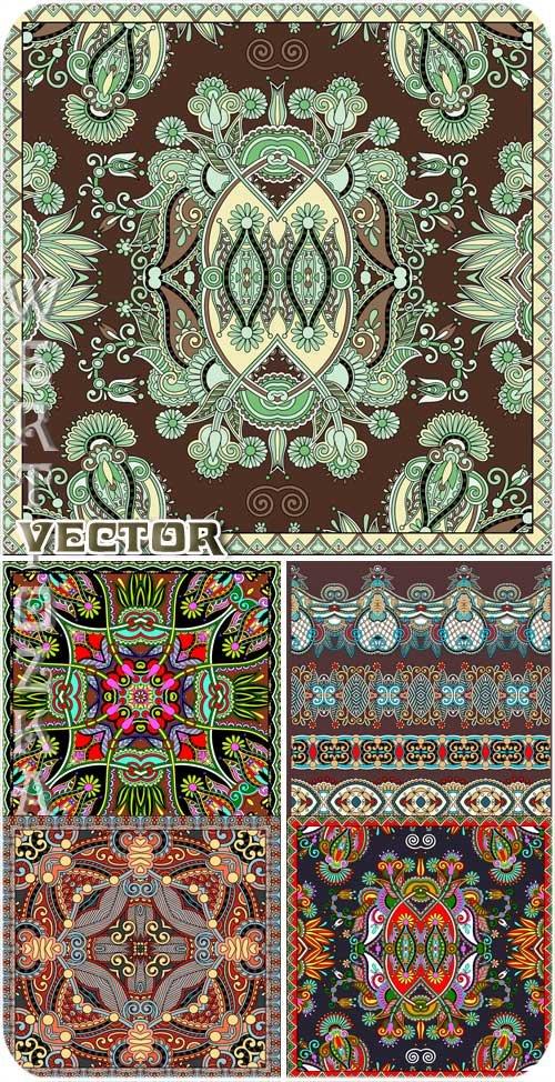 Цветочные узоры и фоны с орнаментами - векторный клипарт