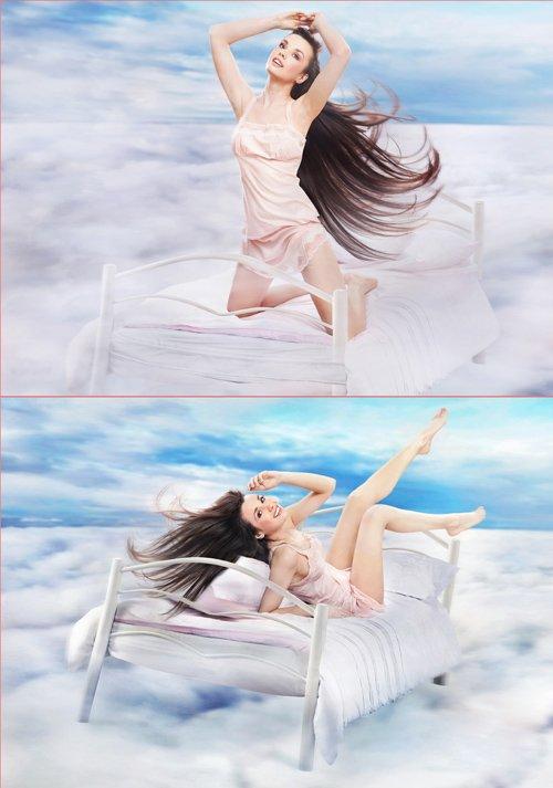 Фотосток - Красивая леди в облаках