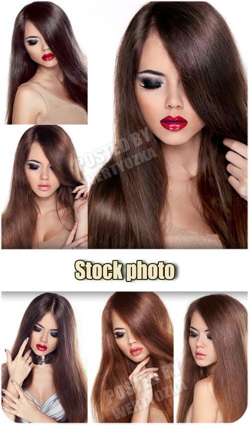 Девушка с красной помадой / Girl with red lipstick - Raster clipart