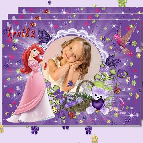 Детская яркая фоторамка – Принцесса с птичкой