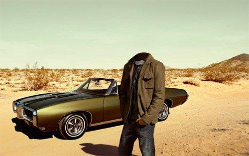 Шаблон мужской - В пустыне на мощном авто