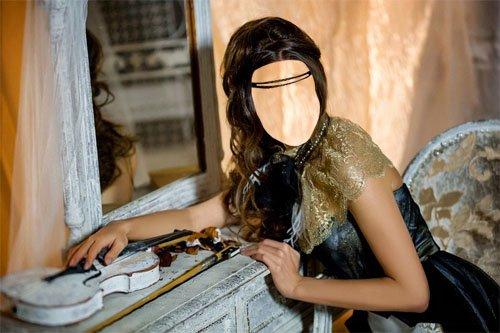 Женский шаблон - Девушка в наряде у зеркала