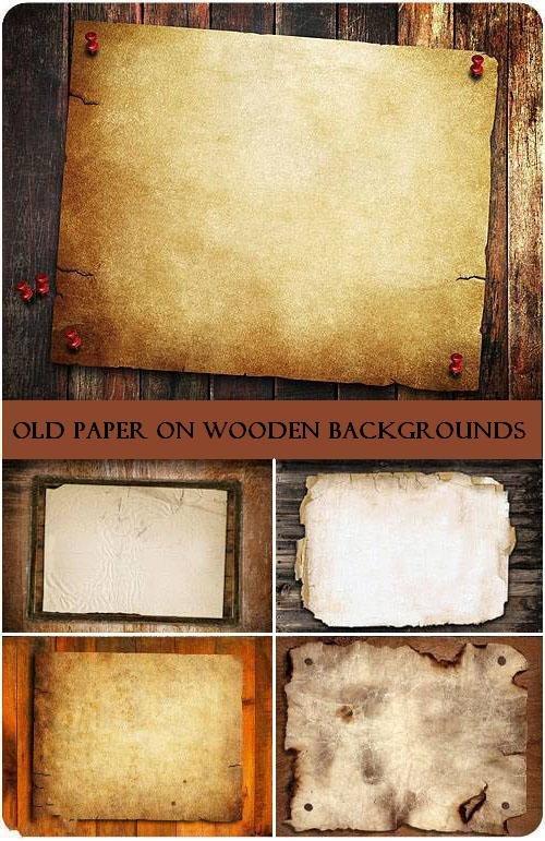 Старая бумага на деревянных фонах