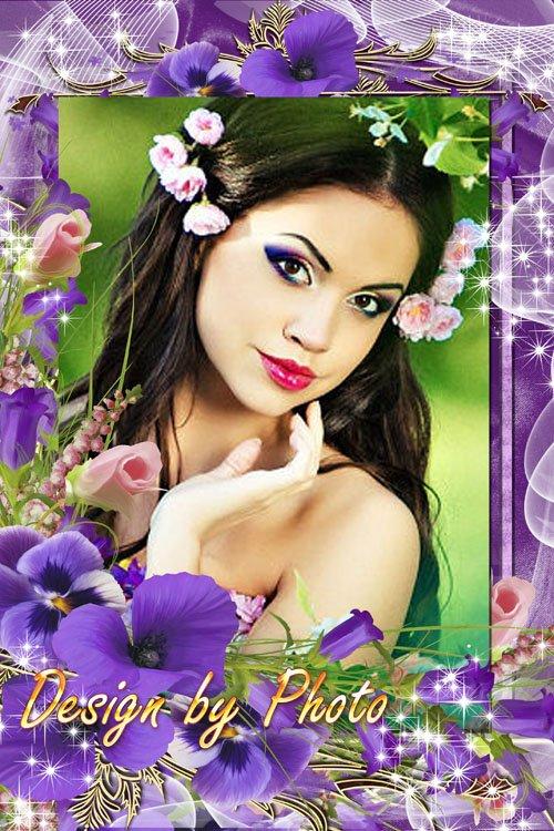 Цветочная рамка - Колокольчики и анютины глазки