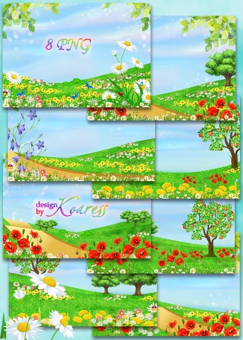 Рисованные летние фоны для фотошопа с яркими полевыми цветами