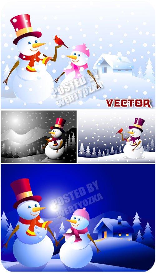 Снеговики, зимний домик в деревне / Snowmen - stock vector