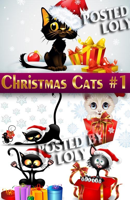 Новогодние котики #1 - Векторный клипарт