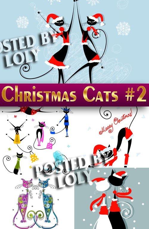 Новогодние котики #2 - Векторный клипарт