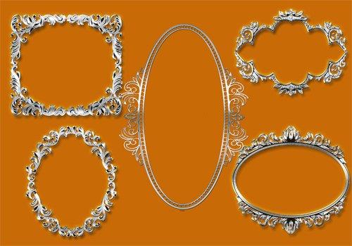 Клипарт '' Винтажные серебряные рамки ''