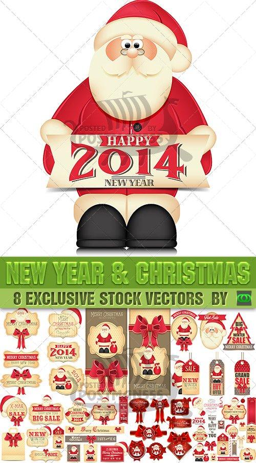 Новый Год и Рождество | New Year and Christmas stickers, Вектор