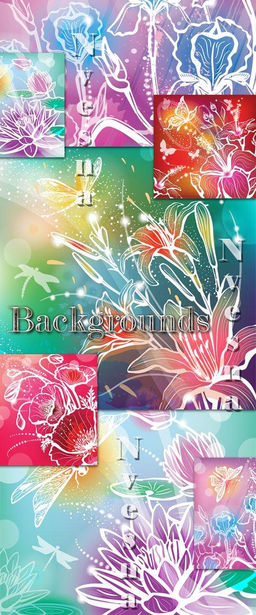 Абстрактные цветочные фоны в Векторе / Abstract flower backgrounds in Vecto ...