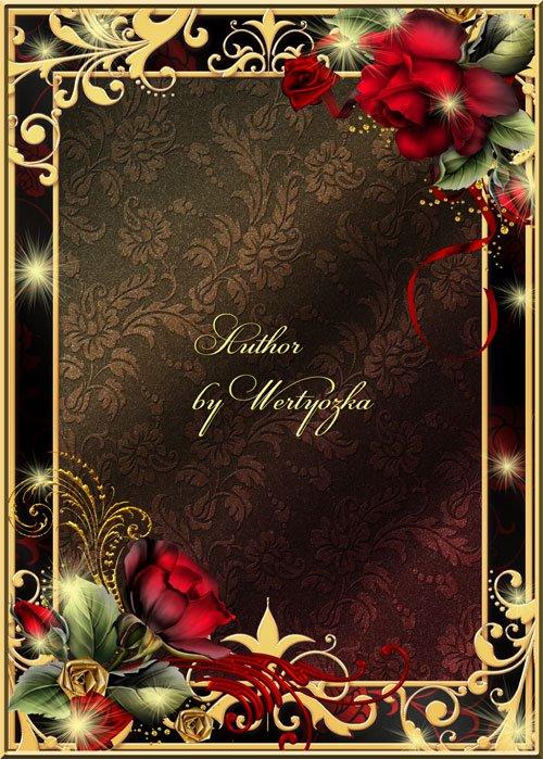 Рамка для фотошопа - Розы и золотые орнаменты