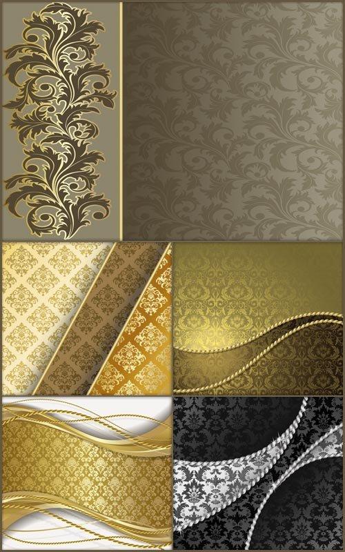 Векторные фоны - Золотой узор с орнаментом