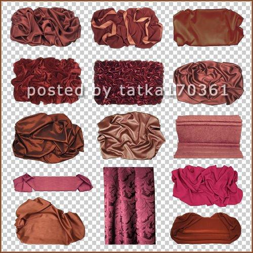 Клипарт для фотошопа - Отрезы ткани красно-коричневого цвета