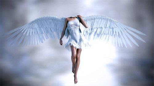 Шаблон для девушек - Ангел с крыльями в небе