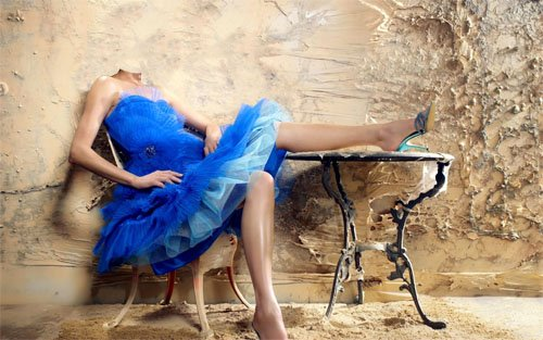 Шаблон для фотошопа - Интересная фотосессия в пышном синем платье