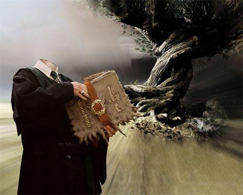 Шаблон мужской - Маг со старой книгой заклинаний