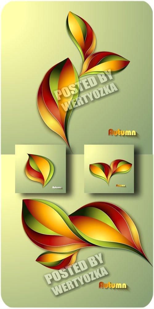 Осенние фоны с листиками / Autumn backgrounds with leaves - vector stock