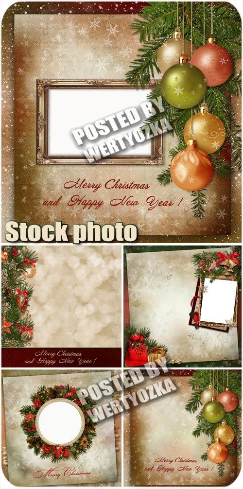 Новогодние фоны с еловыми ветками и шарами / Christmas background - stock p ...