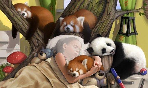 Шаблон для фотомонтажа - Крепкий сон вместе с маленькими животными