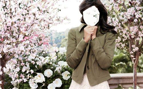 Шаблон для девушек - Брюнетка в красивом саду