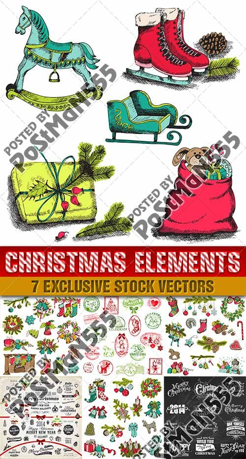Элементы и символы для Нового года и Рождества | Elements and symbols for the New year and Christmas, Вектор