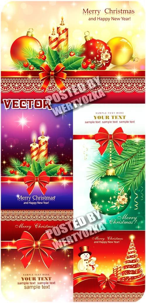 Новогодние фоны, елка, свечи, сверкающие шары / Christmas backgrounds - vec ...