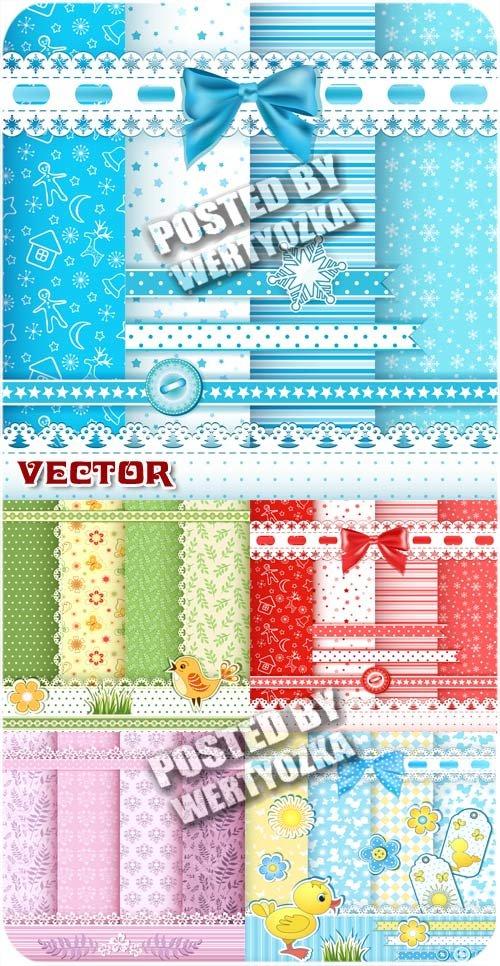 Детские векторные фоны с цветочками и узорами / Baby vector backgrounds - s ...