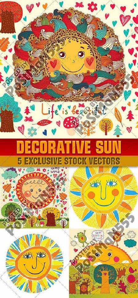 Иллюстрации весёлого декоративного солнца | Illustrations fun decorative su ...