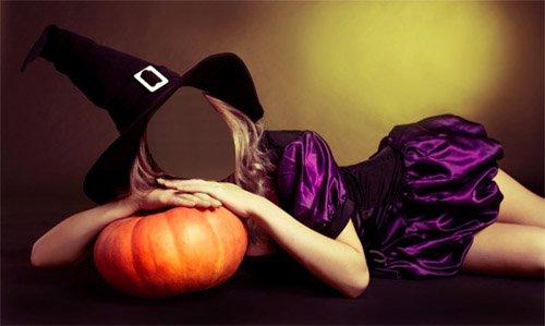 Шаблон для девушек - Девушка в костюме ведьмы лежит на тыкве