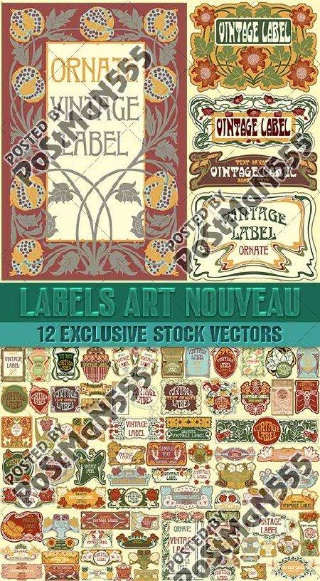 Старинные этикетки стиля Модерн | Labels Art Nouveau, Floral ornament, Вект ...