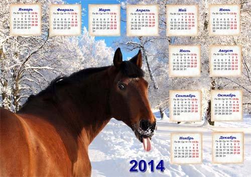 Календарь на 2014 год - Забавная лошадь