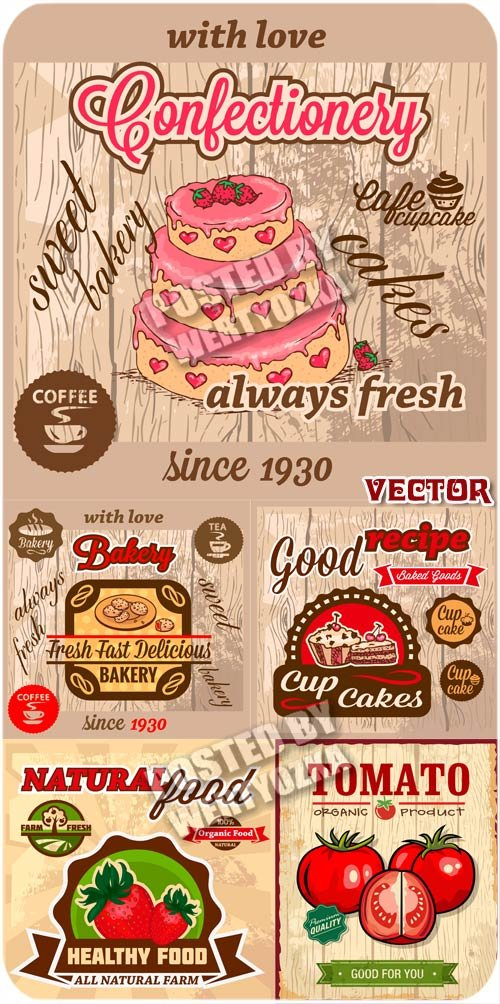 Винтажные продуктовые этикетки, торт, кофе, томаты / Vintage food labels -  ...