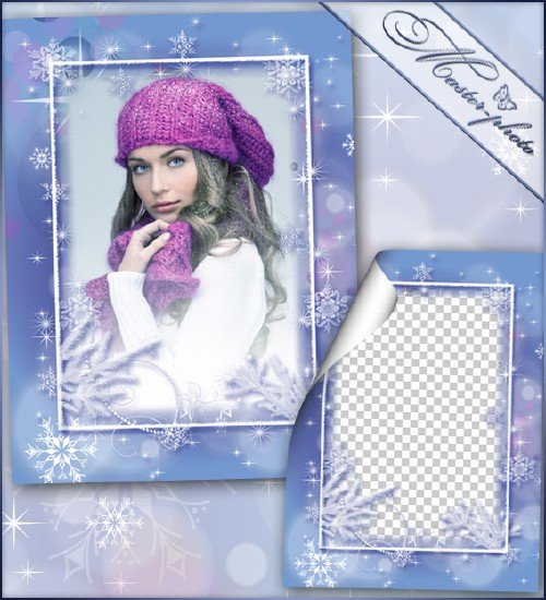 Рамка для photoshop зимняя - Зима скоро