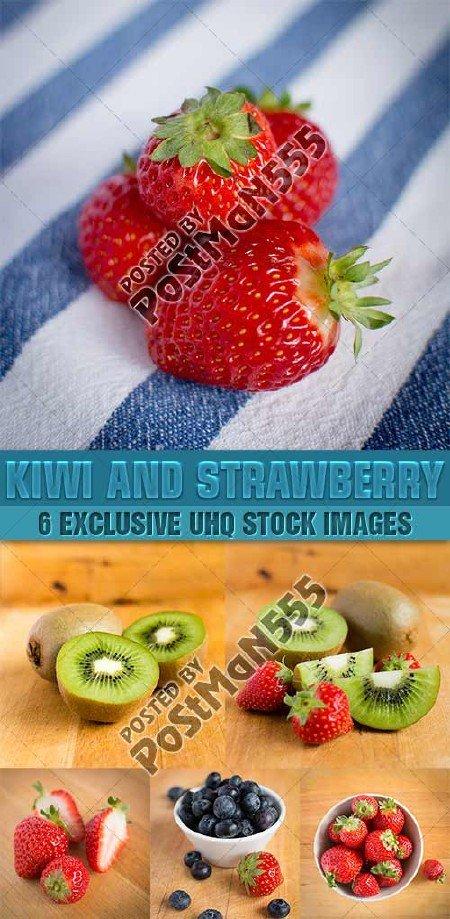 Свежие киви и клубника | Fresh kiwi and strawberry, Стоковый клипарт