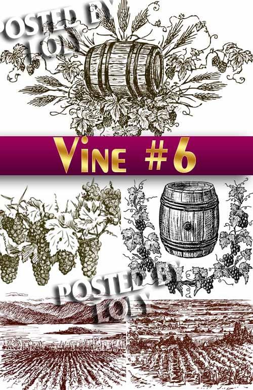Рисованные виноградники #6 - Векторный клипарт