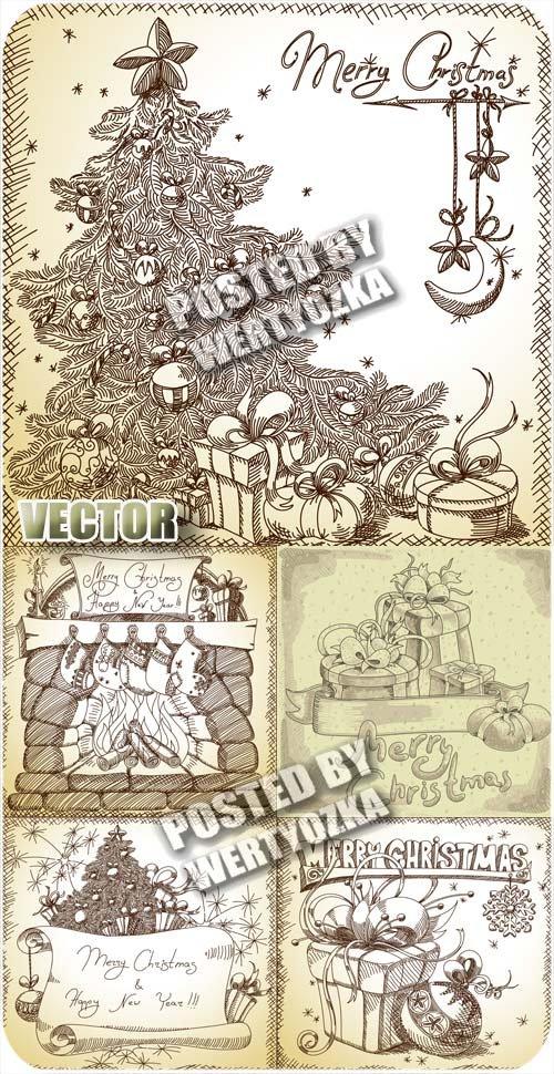 Винтажные векторные фоны с рождественской елкой / Vintage vector background ...