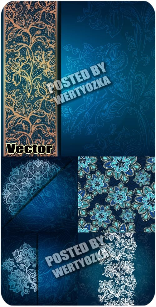 Синие векторные фоны с красивым узором / Vector blue background with beauti ...