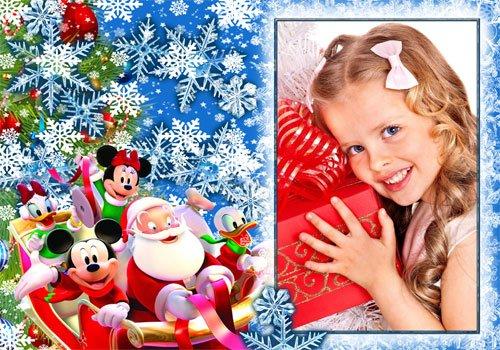 Рамка детская  ''Мчится Санта в гости  к нам ''