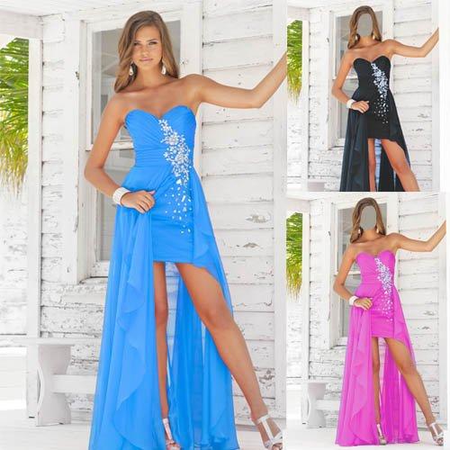 Женский шаблон - Стройная красавица на крыльце дома в красивом платье