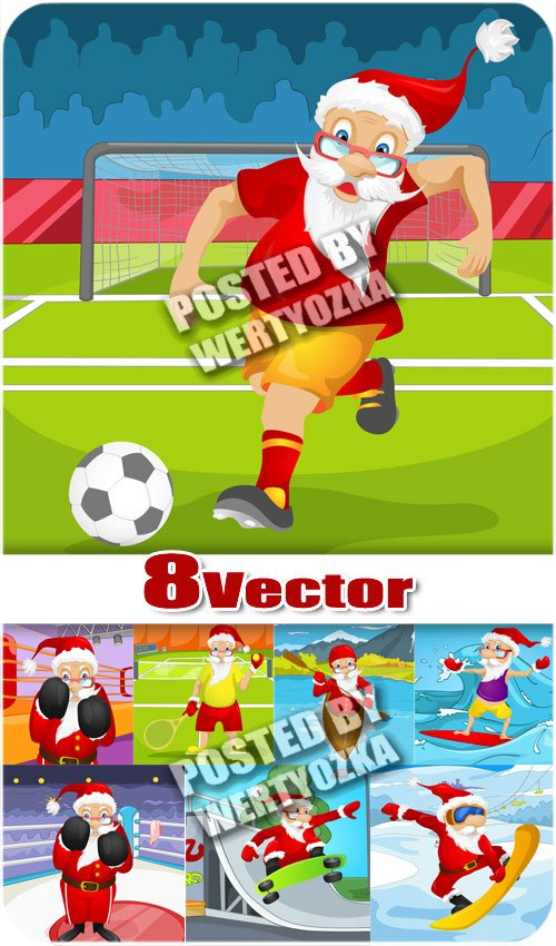 Санта клаус и спорт / Santa Claus and sports - stock vector