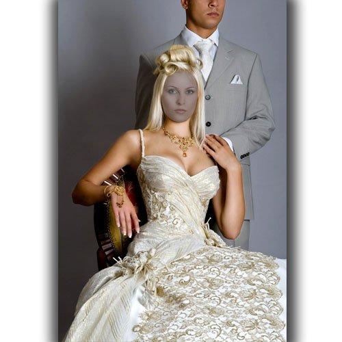 Шаблон для фотошопа - В шикарном платье цвета шампань