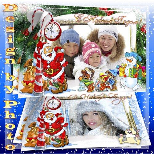 Новогодняя рамка - Дед Мороз и снеговик