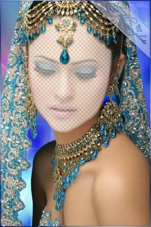 Женский шаблон для photoshop - Индийский костюм