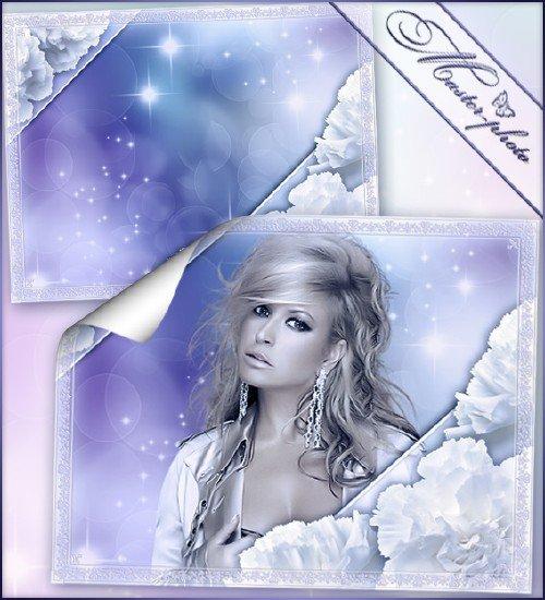 Рамка романтика - Снежные гвоздики