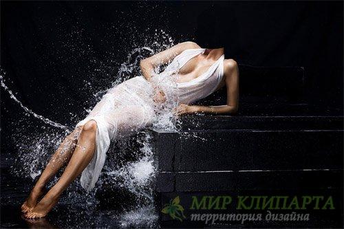 Шаблон для девушек - В белом платье в брызгах воды