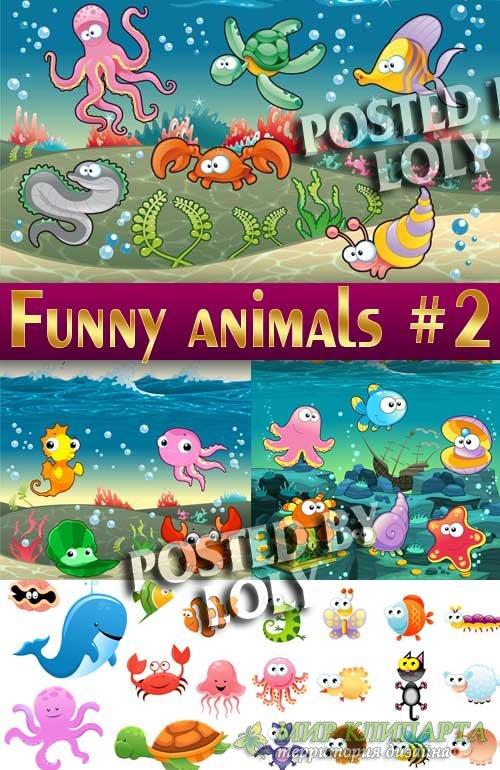 Веселые животные #2 - Векторный клипарт