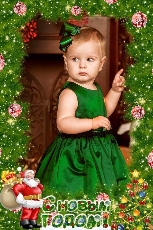 Рамка для фотошопа -   Зеленая, пушистая в шубейке снеговой